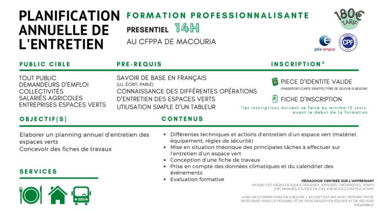 Read more about the article PLANIFICATION ANNUELLE DE L'ENTRETIEN D'ESPACES VERTS